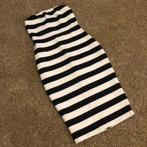 Express Black and White Stripe Fitted Midi Dress